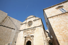 City walls, St. Saviour Church and Franciscan Monastery in Dubrovnik Royalty Free Stock Photos