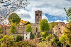 City walls and tower of the Motovun city on Istria in Croatia. stock image