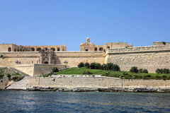 The city walls of Valletta with old castle. Malta Royalty Free Stock Images