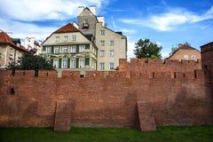 City walls of Warsaw. Around Old Town Stare Miasto , Poland royalty free stock photo