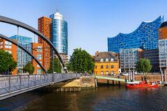 Speicherstadt district in Hamburg city, Germany stock image