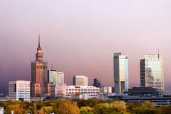 The City of Warsaw. Warsaw, capital city of Poland cityscape, just before the sunset, featuring Palace of Culture and Science, Srodmiescie district Royalty Free Stock Photos