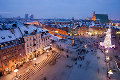 City of Warsaw by Night in Poland Stock Photo