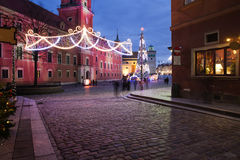 City of Warsaw by Night in Poland Stock Photos