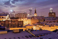 City of Warsaw Night Winter Cityscape Royalty Free Stock Images