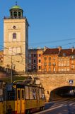 City of Warsaw in Poland. Viewpoint bell tower of St Anne Church, tram on Solidarity Avenue and historic houses stock photography