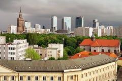 City of Warsaw Skyline. City of Warsaw downtown (Polish: Srodmiescie) in Poland, greenery of the Saxon Garden (Polish: Park Saski royalty free stock photos