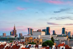 City of Warsaw at Sunset in Poland. City of Warsaw cityscape and downtown skyline at sunset, capital of Poland royalty free stock photo