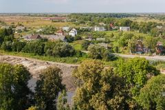 Aerial view to the suburbs of Pravdinsk german name of town is Friedland, Kaliningrad Oblast, Russia. The city was founded in 1312 by the Teutonic Knights and Royalty Free Stock Photos