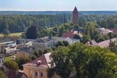 Panorama of the historical center of Pravdinsk german name of town is Friedland, Kaliningrad Oblast, Russia. The city was founded in 1312 by the Teutonic Stock Photography