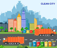 City waste recycling concept with garbage truck. Concept waste disposal and types sorting management. concept clean city. Vector illustration in flat design Stock Images