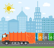 City waste recycling concept with garbage truck. Concept waste disposal and types sorting management. Vector illustration in flat design Royalty Free Stock Image