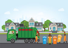 City waste recycling concept with garbage truck and garbage coll. Ector on village landscape background. Vector illustration in flat design Royalty Free Stock Photography