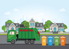 City waste recycling concept with garbage truck. Stock Photo