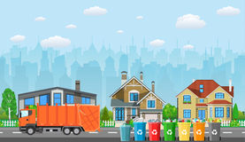 City waste recycling concept. With garbage truck on village landscape background. Vector illustration in flat design Royalty Free Stock Photo