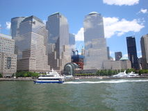 City from the water. Architecture buildings of new york city stock images