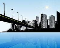 City with water and bridge. Stock Photos