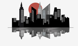 City and water reflection vector clipart. Template stock illustration
