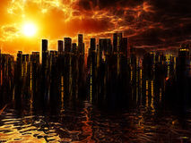 City on water sunset sunrise Stock Photo