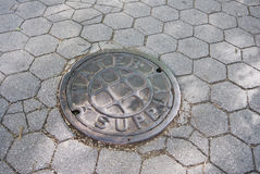 City water supply manhole cover Stock Image