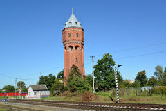 City water tower of Velau about the railway crossing. Znamensk, Stock Image