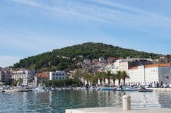 City waterfront and Marjan hill in Split royalty free stock photo
