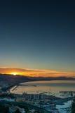 City waterfront at sunrise Stock Photos