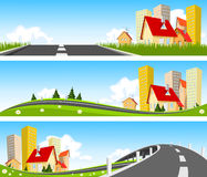 City and way through nature banner Royalty Free Stock Photography