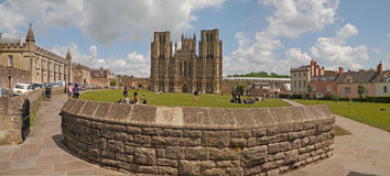 City of wells. The city of Wells in Somerset, England is dominated by it's 12th century cathedral Stock Photography