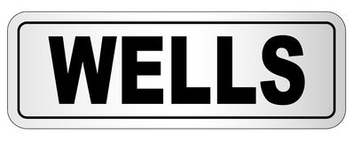 Wells City Nameplate. The city of Wells nameplate on a white background Stock Photography