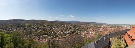 City Wernigerode Panorama with mountain Brocken. City of Wernigerode Panorama with a view of the mountain Brocken in Saxony-Anhalt Royalty Free Stock Photo