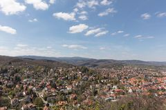 City Wernigerode with resin mountains and mountain Brocken. City Wernigerode with Harz mountains and mountain Brocken in Saxony-Anhalt Stock Photos