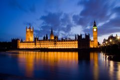 City of Westminster and Big Ben at night Stock Images