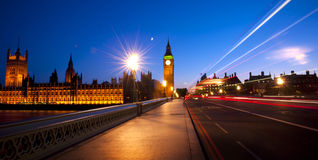 City Westminster Traffic Evening Exposure Concept Royalty Free Stock Image