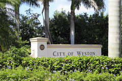 City of Weston, Florida Sign Stock Photography