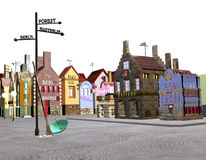 City on white. A small historical city, and a sign that shows distances to other places, over a white background, 3D illustration, raster illustration Royalty Free Stock Image