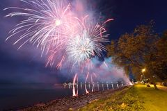 City of White Rock Firework Display Royalty Free Stock Photography