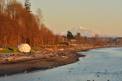 City of White Rock and Mt. Baker Royalty Free Stock Image