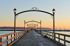 City of White Rock Pier at sunset Stock Image