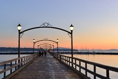 City of White Rock Pier at sunset Stock Photo