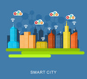 City wide communication. Smart city. Cloud computing Royalty Free Stock Photo