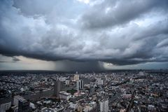 City in a wide view Ambient atmosphere. In Bangkok, Thailand royalty free stock images