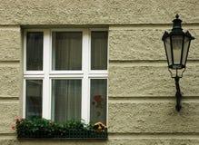 City Window with Lamp. Prague, Czech Republic Stock Images