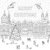 City in winter at Christmas time. Hand drawn black and white illustration of a city in winter at Christmas time, line art for coloring book pages, greeting card Royalty Free Stock Image