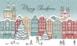 City in winter at Christmas time. Hand drawn illustration of a city in winter at Christmas time, with small people, cathedral and Christmas trees Royalty Free Stock Photography