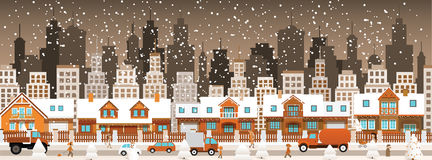 City in winter (Christmas) Stock Image