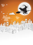 City winter and full moon with witch,Halloween night background. Stock Images