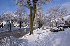 City in Winter, Houses, Homes, Neighborhood Snow. Trees are covered with snow after an overnight winter season snowfall in the city. Houses and homes in the Stock Photo