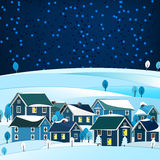 01 City winter landscape. Vector illustration of abstract winter city landscape Stock Photography
