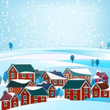 02 City winter landscape. Vector illustration of abstract winter city landscape Royalty Free Stock Photography